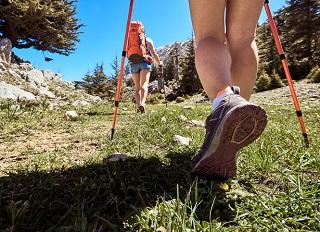 Ett par vandringsstavar är det bästa för att avlasta benen.